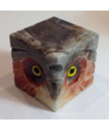 Vintage Noymer Real Alabaster Hand Carved Owl Paperweight Orange Cube Italy - $44.00