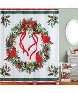 Festive Winter Cardinals and Wreath Shower Curtain - $26.16