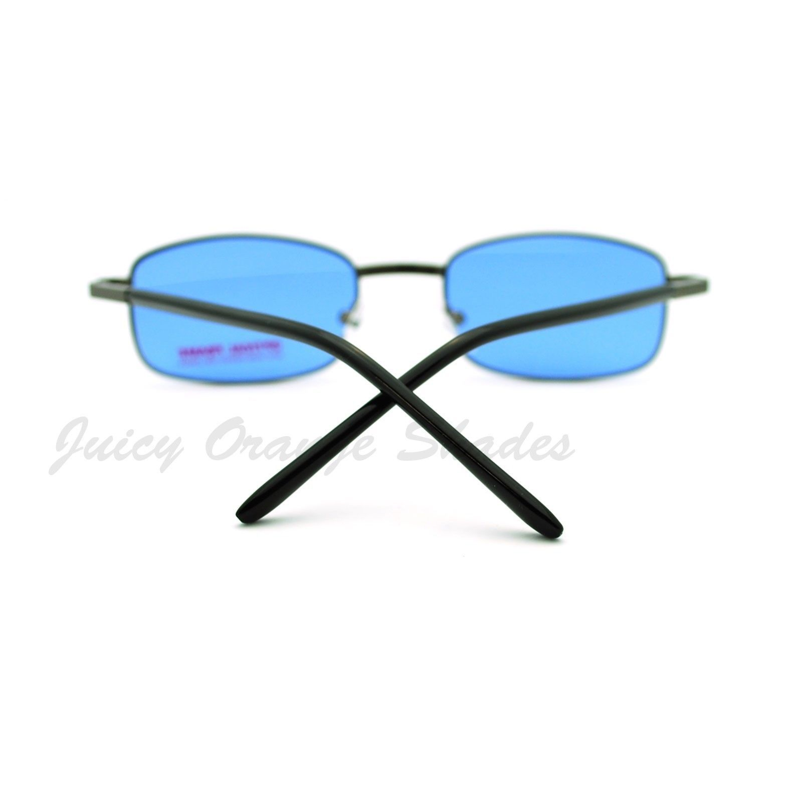 Thin Metal Rectangular Frame Sunglasses Unisex 8 Colorful Lens