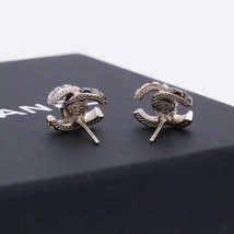 AUTHENTIC CHANEL AMBER 2-TONE CC LOGO STUD EARRINGS MINT image 4