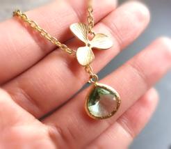 Aqua Gem Gold Orchid Lariat Necklace Aqua Gemstone Lariat Matte Gold Orc... - $38.00+