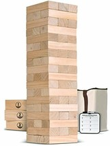 Giant Wooden Toppling Tower Stacks to 5+ Feet Includes Bonus Rules w/ Ga... - $95.43