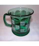 Cedar Point CP Script Logo Green Glass Made in USA Unusual Style - $16.78