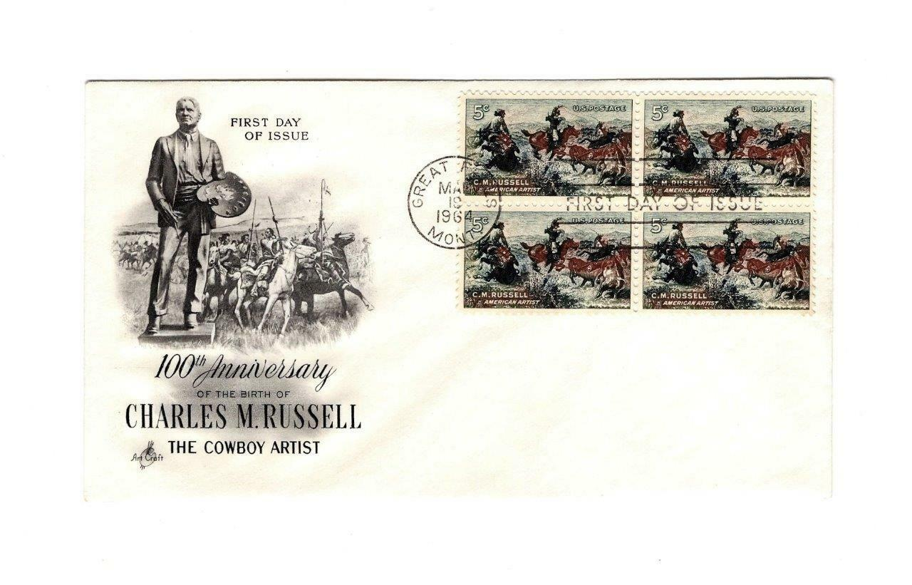 FDC ENVELOPE-100th ANNIV. CHARLES M. RUSSELL BL4-1964  ART CRAFT CACHET BK12