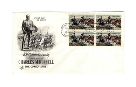 FDC ENVELOPE-100th ANNIV. CHARLES M. RUSSELL BL4-1964  ART CRAFT CACHET ... - $2.67