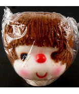 Darice Brown Yarn Hair White Face Doll Head New Old Stock Never Used - $9.89