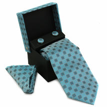 Berlioni Men's Silk Neck Tie Accessory Box Set With Cufflinks & Pocket Square image 8