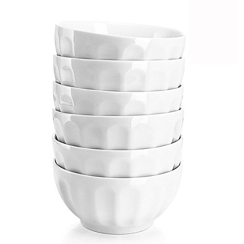 Sweese 106.001 Porcelain Fluted Bowl Set - 26 Ounce for Cereal, Salad and Soup -