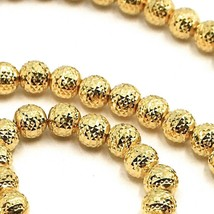 "18K YELLOW GOLD CHAIN FINELY WORKED SPHERES 5 MM DIAMOND CUT, FACETED, 18"" 45 CM image 2"