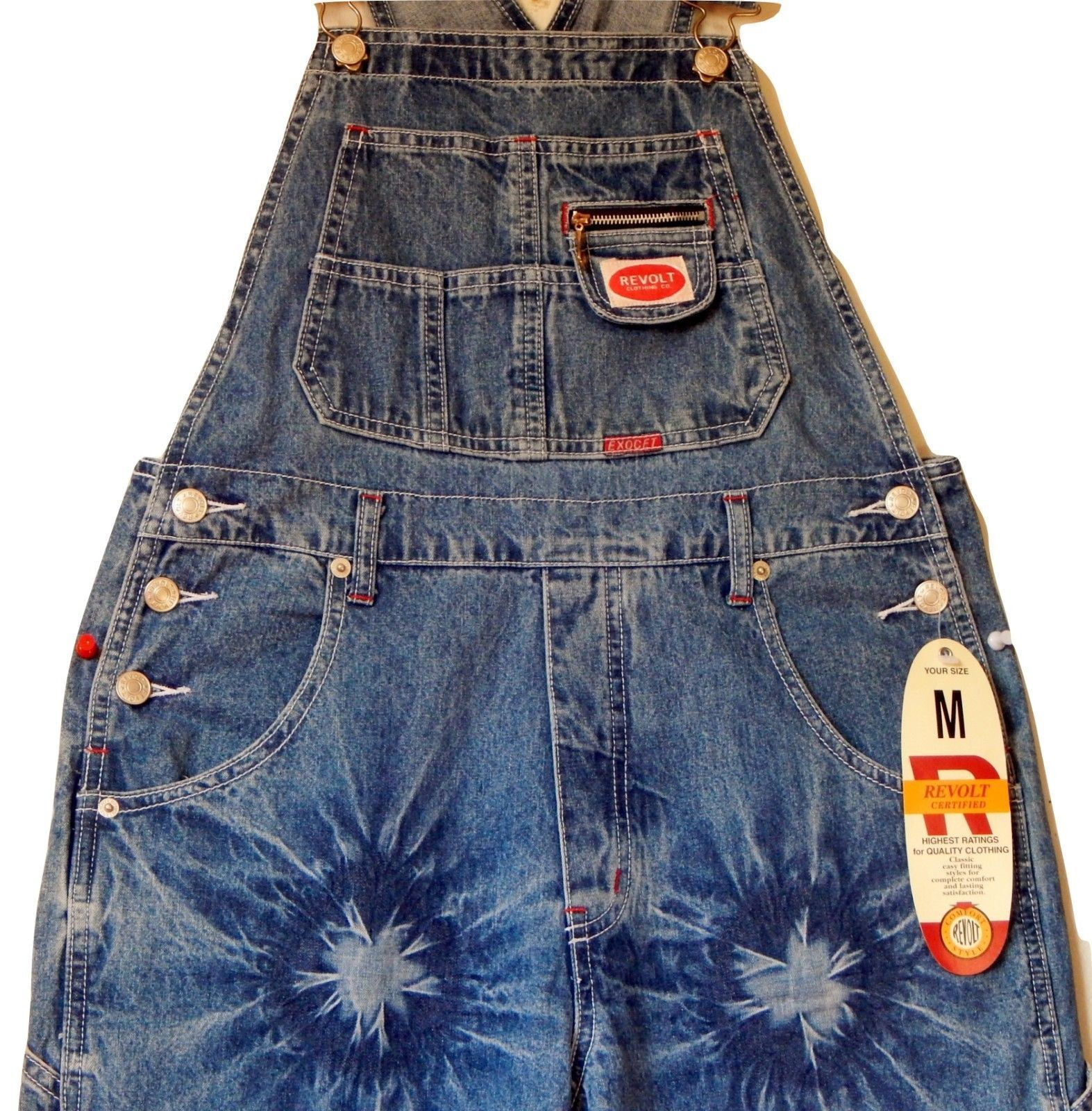 ddffbd2e ~REVOLT Classic Bib Overalls Tye Bleach Destressed Women's Size M Blue Denim