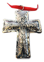 Holiday! Polished Silver Tin-Etched & Antiqued Cross Christmas Ornament-... - $24.69