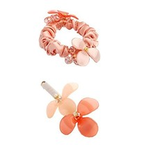 [Pink] 2 PCS Flower Hair Styling Tool Barrettes & Ponytail Holders Hair Clips