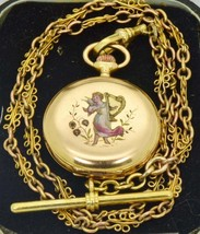 Antique 18k gold,enamel and diamonds LeCoultre caliber watch&gold chain.... - $4,690.00