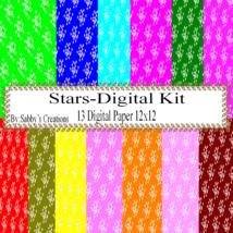 Stars Digital Kit -Digtial Paper-Gift Tag-Jewelry-Tshirt-Notebook-Scrapbook - $5.00
