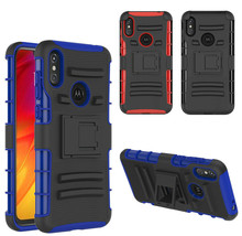 For Motorola E5 G6 Play G7 P30 Case Hybrid Armor Protective Cover with K... - $7.70