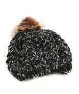 Black Faux Fur Pom Pom Cable Knit Winter Beanie Hat - ₨1,021.48 INR