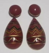 Southwest Earrings Wooden Pierced Arts & Crafts Terra Cotta Pottery Look - $26.11