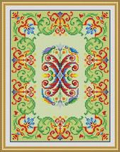 Vintage Parrots with Border Motif Tapestry Counted Cross Stitch PDF Pattern - $6.00