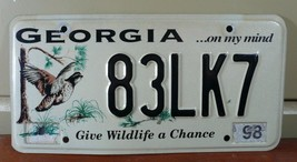 1998 GEORGIA LICENSE PLATE, GIVE WILDLIFE A CHANCE, ...ON MY MIND, BIRDS. - $11.24