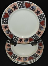 4 Oneida D C Brown & Co American Quilt Dessert Salad Plates Red White Blue  - $33.65