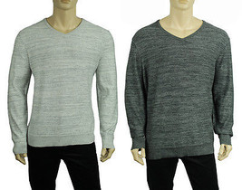 New Mens Alfani Regular Fit V Neck Grey Slub Cotton Pullover Sweater $60 - $17.99