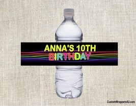 Glow Neon Retro 80's Birthday Party Favors Water Bottle Labels Personalized - $3.96+