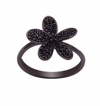 Flower Design Jewelry !! Black Spinel Gemstone 925 Silver Ring Sz US 7 S... - £16.01 GBP