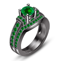 14k Black Gold Finish 925 Sterling Silver Womens Bridal Green Sapphire R... - $77.89