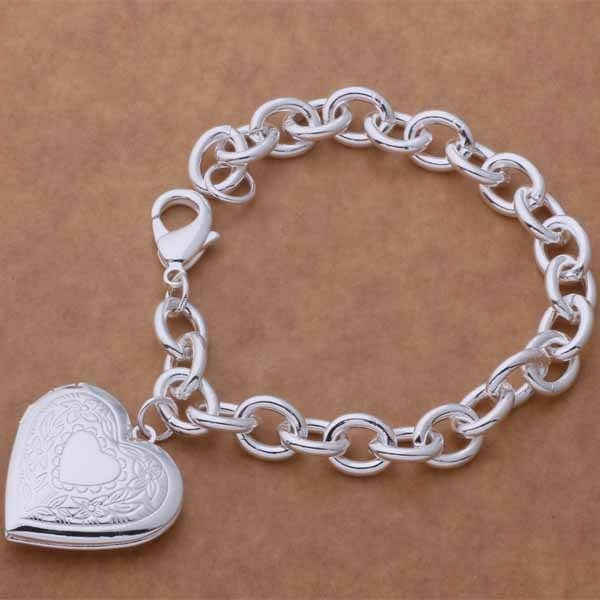 Primary image for Heart Locket Chain Bracelet 925 Sterling Silver NEW