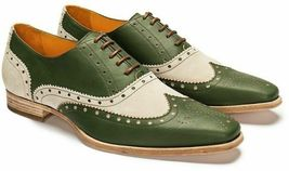 Handmade Men's Green Leather & White Suede Wing Tip Brogues Dress Oxford Shoes image 1