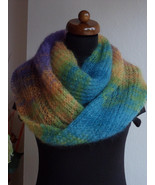 Loop scarf, Circle infinity scarf, silk mohair scarf, turquoise violet s... - $59.00