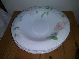Retired SANGO Sculpture Rose Fine China 4 Rimmed Soup Bowls 1051 Japan - $28.49