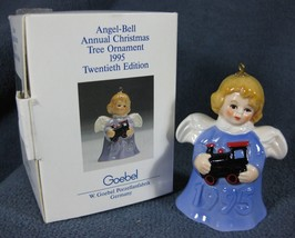 Goebel Annual Angel Bell Ornament 1995 Train Purple Blue Boxed Germany - $17.95