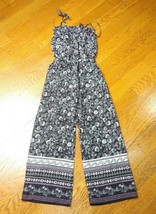 Floral Smocked Overall Jumpsuit Girls S/M Navy Blue Whtie Pink Calico Di... - $5.00