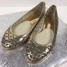 MICHAEL KORS Women NWOB Gabriella Ballet Flats MK Logo Gold Leather Size 7M - $65.44