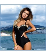 Black Stretch 50'S Style Pin Up Top Trimmed in Polka Dot One Piece Bathi... - $53.95