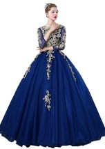 Women's A line Prom Dresses Long Sleeves Lace Appliques Tulle Quinceaner... - $188.99