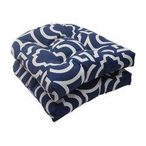 Pillow Perfect Outdoor/Indoor Carmody Navy Tufted Seat Cushions (Round B... - £39.90 GBP