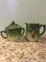 Vintage Norcrest Christmas Lusterware Sugar & Creamer Set Green Red Holl... - $14.00