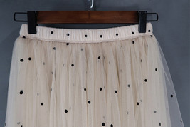 CHAMPAGNE Long Tulle Skirt Women Dotted Puffy Tulle Skirt Champagne Party Skirt image 8