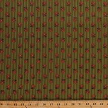 Jo Morton Amelia Floral Green Civil War Reproduction Cotton Fabric Print... - $10.95