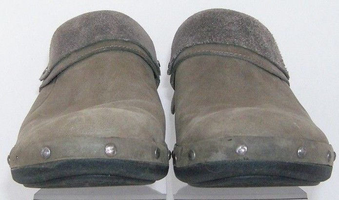 Merrell 'Drizzle' taupe leather luxe wrap round toe studded clogs block heel 7