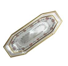 Vintage Heisey Octagonal Celery Dish Bowl Signed 1900 Mark Roses Gold - $48.37