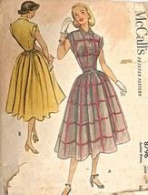 Vtg 1951 Sewing Pattern Mccalls #8796 Size 11 Bust 33 1 PC Day Dress Ful... - $21.18