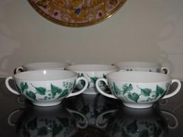 WEDGWOOD BUXTON GREEN BONE CHINA CREAM SOUP CUPS SET OF 5 - $119.00