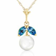 14 Karat Gold Natural Pearl Blue Topaz Pendant - $219.65