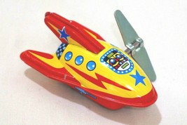 """Made in Japan Vintage Tin Toy New Sanko 3"""" Wind Up Auto Turn Yellow Spac... - $12.82"""