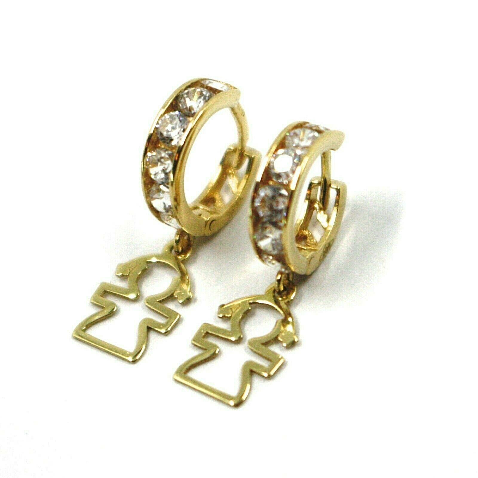 18K YELLOW GOLD PENDANT EARRINGS, MINI CUBIC ZIRCONIA HOOPS WITH GIRL PENDANT