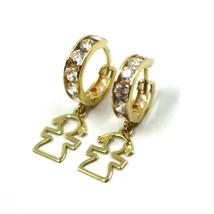 18K YELLOW GOLD PENDANT EARRINGS, MINI CUBIC ZIRCONIA HOOPS WITH GIRL PENDANT image 1