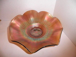 "Northwood Carnival Glass Stippled Rays Signed 8"" Bowl Green - $14.99"